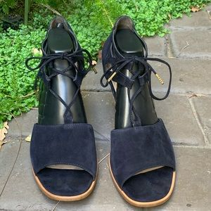 Paul Green women's navy leather suede sandal Sz 10